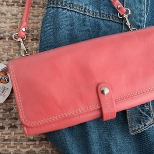 NWT Leather Fossil Crossbody Purse/Wallet in Pink